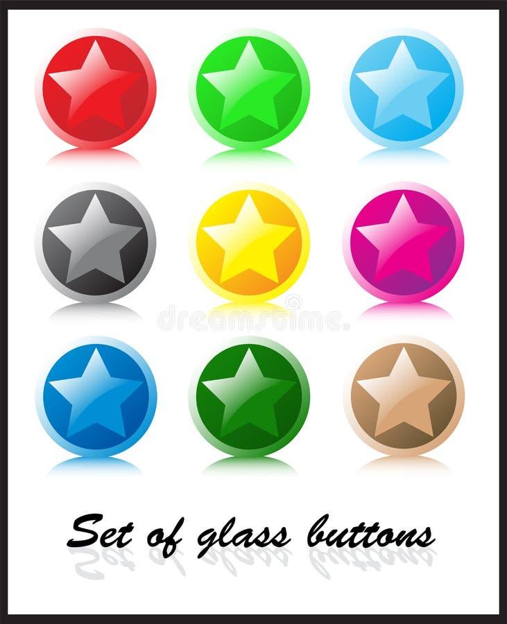 комплект стекла кнопок иллюстрация штока