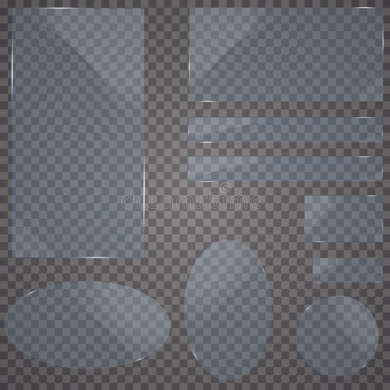Комплект стеклянных пластинок Знамена вектора стеклянные на прозрачной предпосылке транспарант для публикуемости иллюстрация вектора