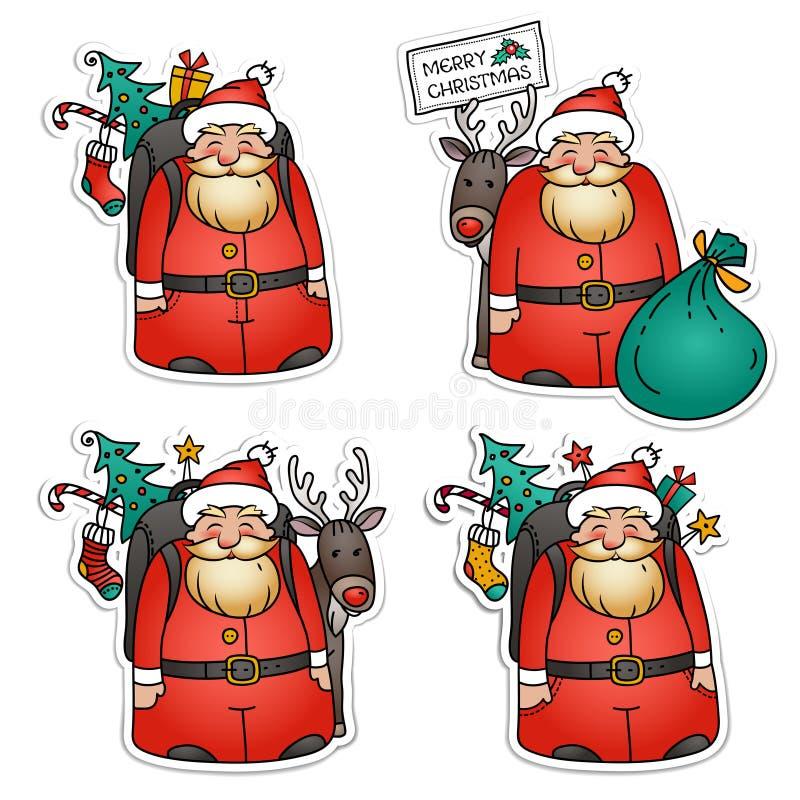 Комплект стикеров Санта Клауса Санта Клаус с северным оленем, packbag, рождественской елкой и подарками Иллюстрация рождества пра иллюстрация вектора