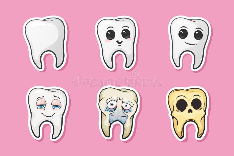 Комплект стикеров человеческих tooths бесплатная иллюстрация