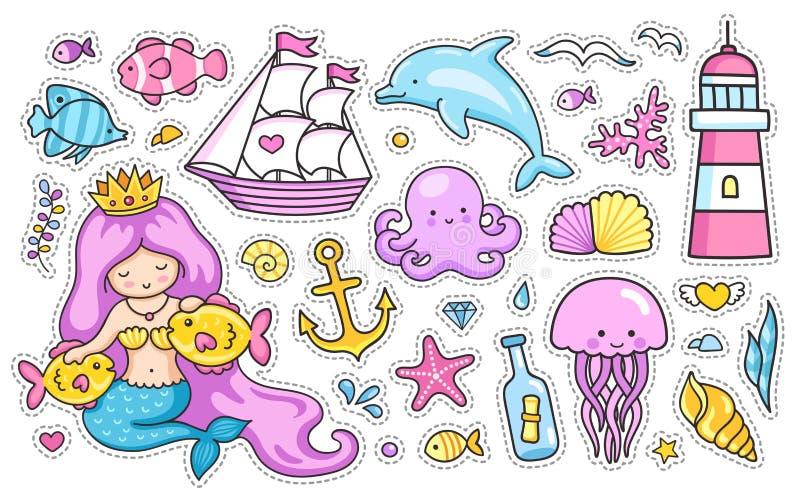 Комплект стикеров шаржа, заплат, значков, штырей, печатей для детей иллюстрация вектора