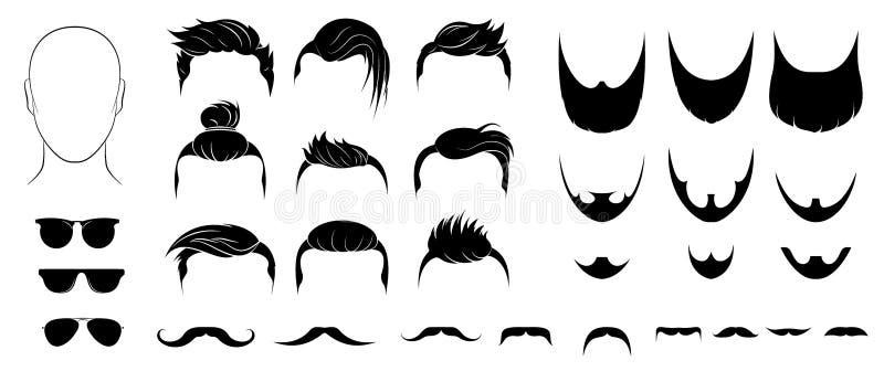 Комплект стилей причёсок, бород, усиков и стекел людей иллюстрация штока