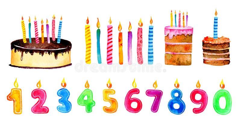 Комплект стилизованных элементов дня рождения Торты и свечи мультфильма руки вычерченные иллюстрация эскиза акварели иллюстрация вектора