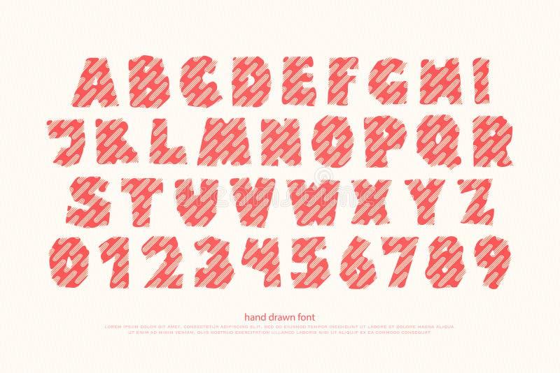 Комплект стиля шаржа, смешных писем алфавита и номеров бесплатная иллюстрация