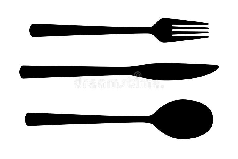 Комплект столового прибора E иллюстрация вектора