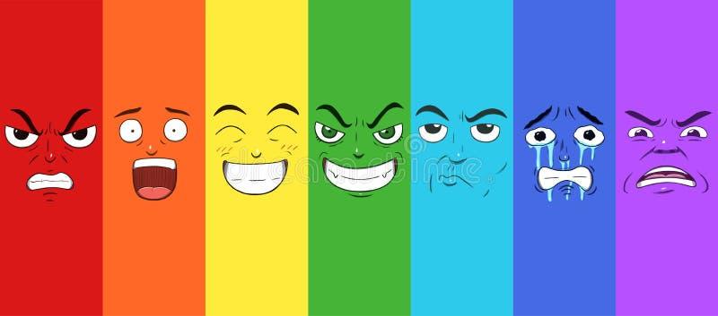 Комплект 7 сторон выражая различные эмоции в картине радуги иллюстрация штока