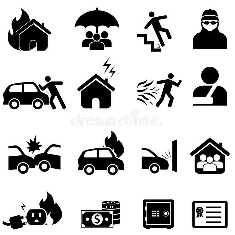 Комплект страхования и значка бедствия бесплатная иллюстрация