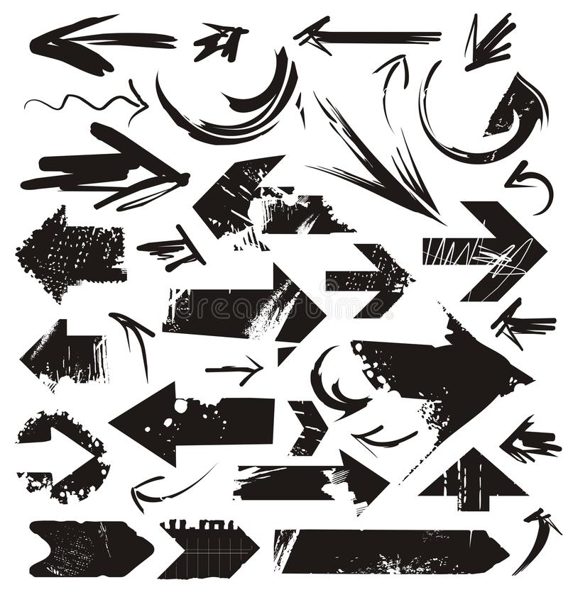Комплект стрелок grunge иллюстрация штока