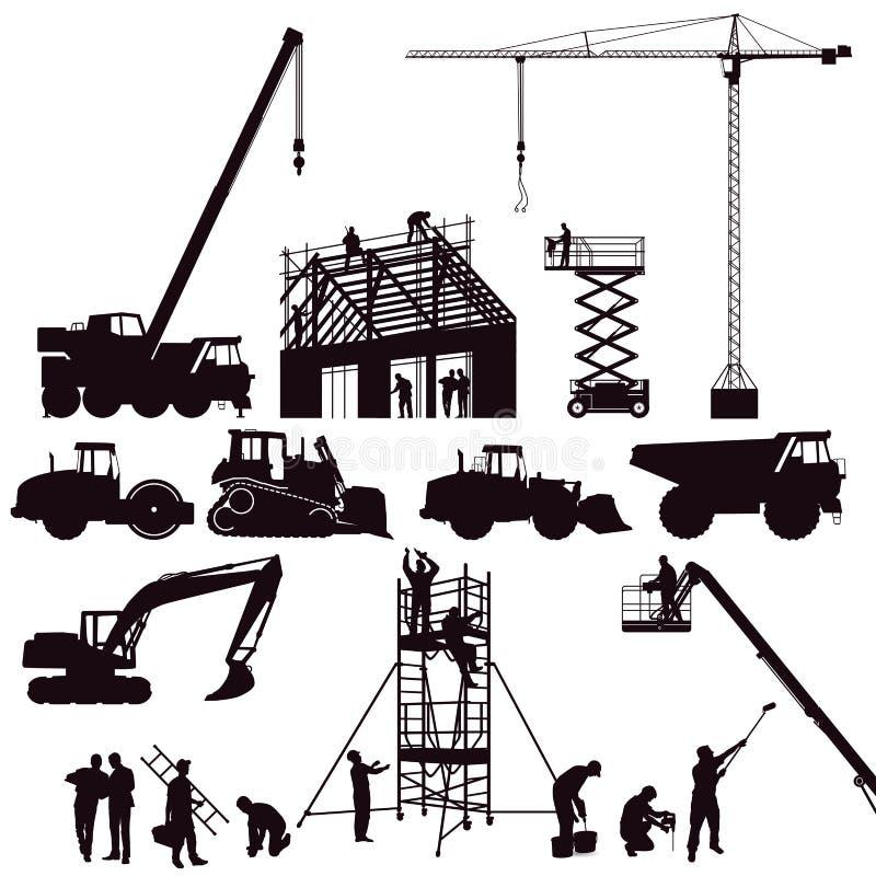 Комплект строительной техники иллюстрация вектора