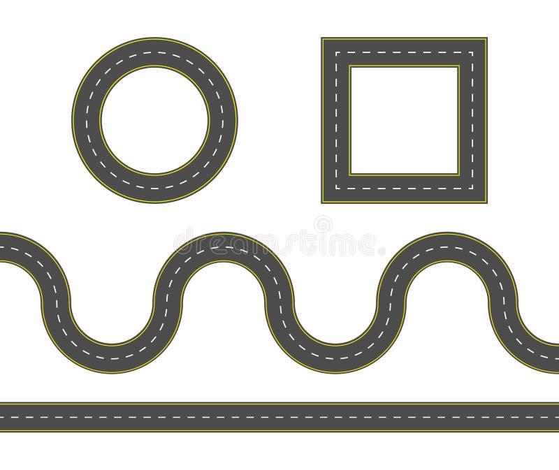 Комплект строительства дорог Набор инструментов карты шоссе Connectable элементы дороги Иллюстрация вектора извилистой дороги иллюстрация вектора