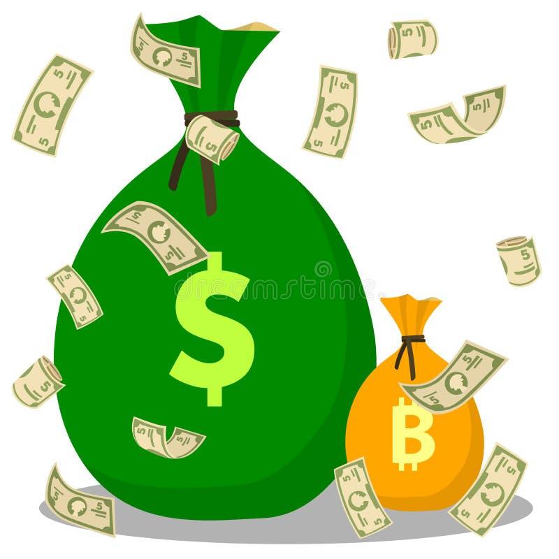 Комплект сумки денег долларов летания на фоне Bitcoin и сумки доллара Плоский значок на белой предпосылке бесплатная иллюстрация