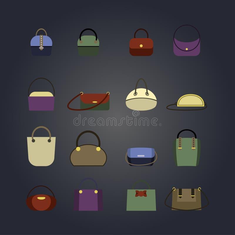 Комплект сумок покрашенных женщин в стиле квартиры иллюстрация вектора