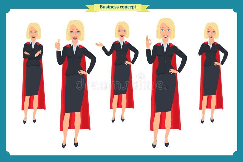 Комплект супер дизайна характера коммерсантки с различными представлениями Вектор изолированный иллюстрацией на белизне в плоском иллюстрация штока