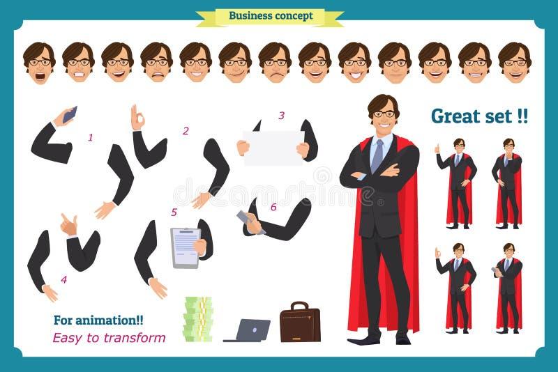 Комплект супер человека характера бизнесмена в костюме, стоя иллюстрация вектора