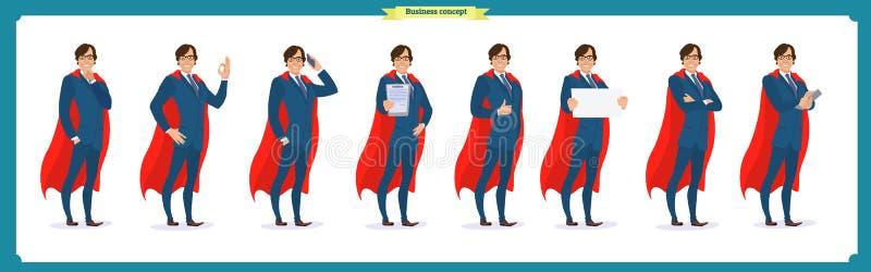 Комплект супер человека характера бизнесмена в костюме, стоя иллюстрация штока