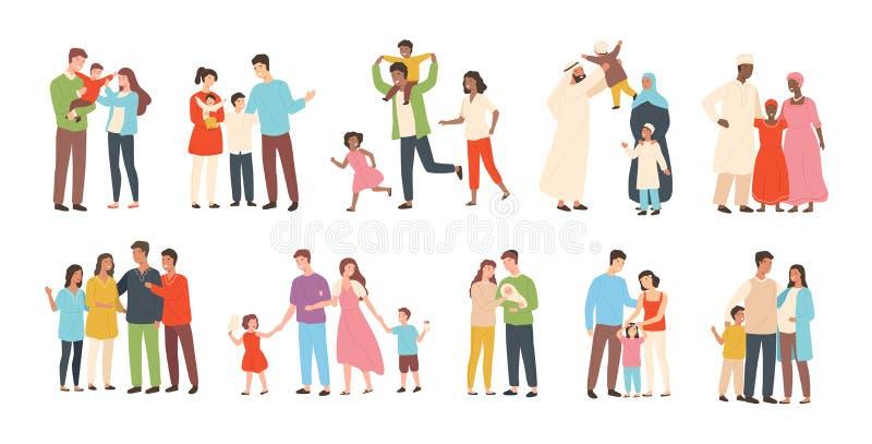 Комплект счастливых традиционных гетеросексуальных семей с детьми Усмехаясь мать, отец и дети Милые персонажи из мультфильма иллюстрация вектора