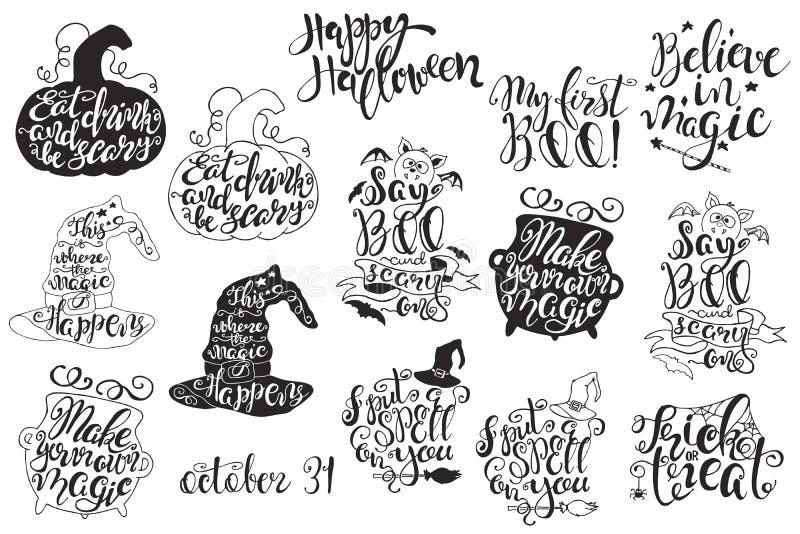 Комплект с ярлыками хеллоуина с нарисованными рукой иллюстрациями и цитатами вектора иллюстрация штока