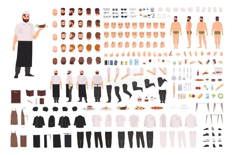 Комплект творения шеф-повара, кашевара или работника кухни или набор DIY Собрание частей тела, выражений лица, позиций, одежды иллюстрация штока