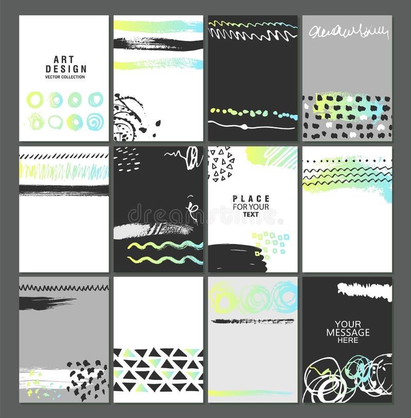 Комплект творческих всеобщих плакатов или карточек искусства Текстуры нарисованные рукой Всеобщая предпосылка вектора для плаката иллюстрация вектора