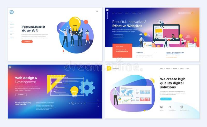 Комплект творческих дизайнов шаблона вебсайта бесплатная иллюстрация