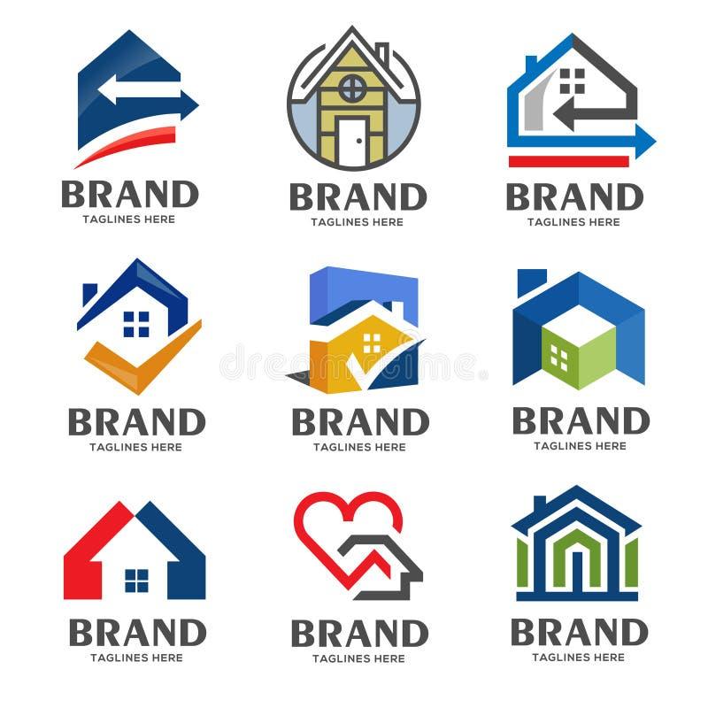Комплект творческого логотипа недвижимости, свойства и конструкции бесплатная иллюстрация