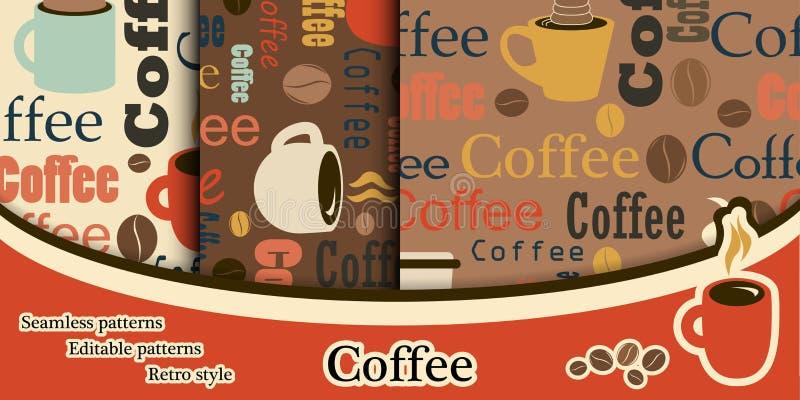 Комплект текстур кофе в плоском стиле Текстуры с текстом Co бесплатная иллюстрация
