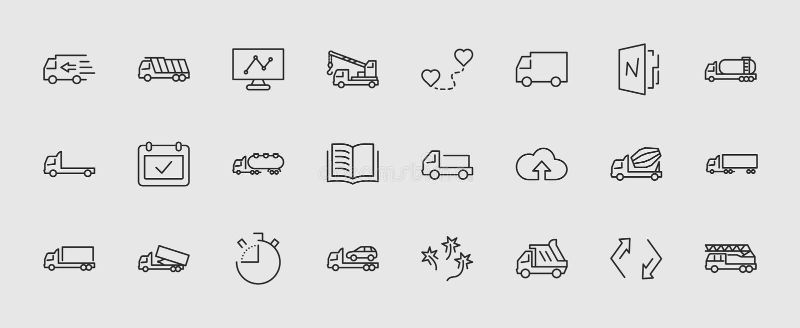 Комплект тележки линии значков вектора перехода Содержит такие значки как тележка, транспорт, эвакуатор, краны, смеситель бесплатная иллюстрация