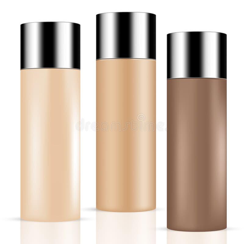 КОМПЛЕКТ 3 тонизировал продукты красоты кожи/бутылки и контейнеры косметик с серебряной крышкой иллюстрация вектора