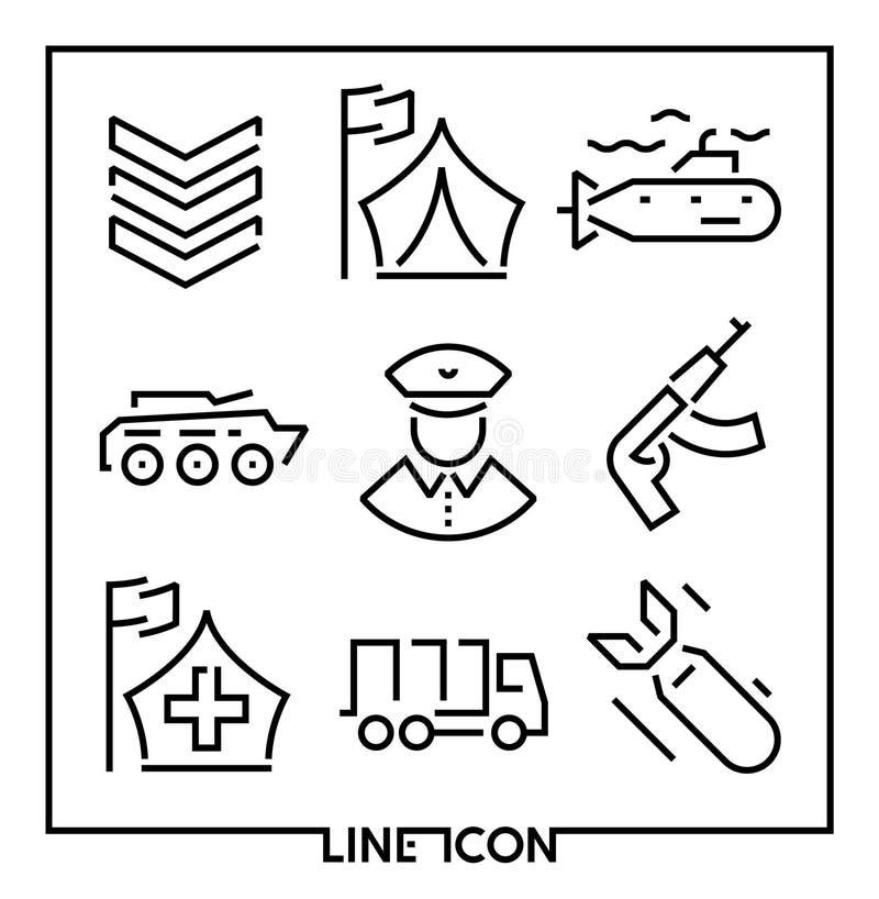 Комплект тонкой линии значков для воинской войны и армии бесплатная иллюстрация