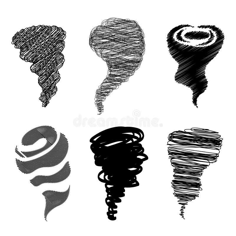 Комплект торнадо Абстрактные шаблоны логотипа scribble иллюстрация штока