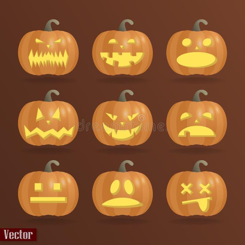 Комплект 9 тыкв на хеллоуин с различными эмоциями На коричневой предпосылке иллюстрация вектора