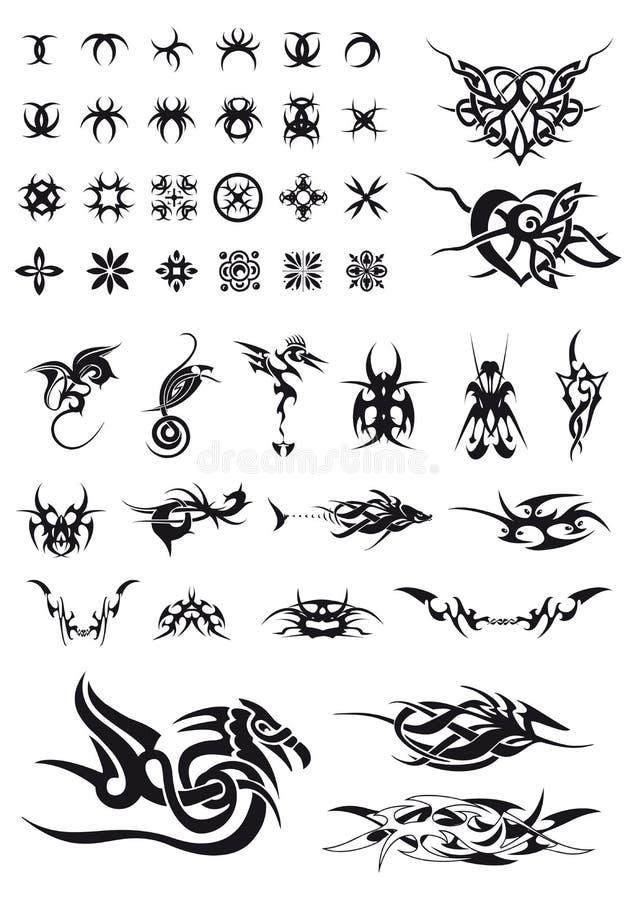 комплект украшений геометрический татуирует tribals иллюстрация вектора