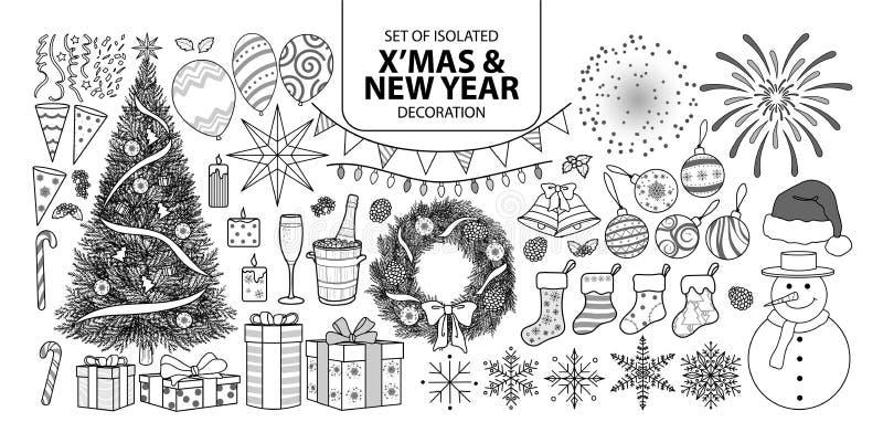 Комплект украшения на рождество и Новый Год Vector иллюстрация в плоскости черное плана и белых иллюстрация вектора