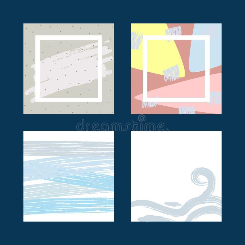 Комплект ультрамодных картин для предпосылок дизайна, карточек, знамен Эскиз, grunge, акварель иллюстрация штока