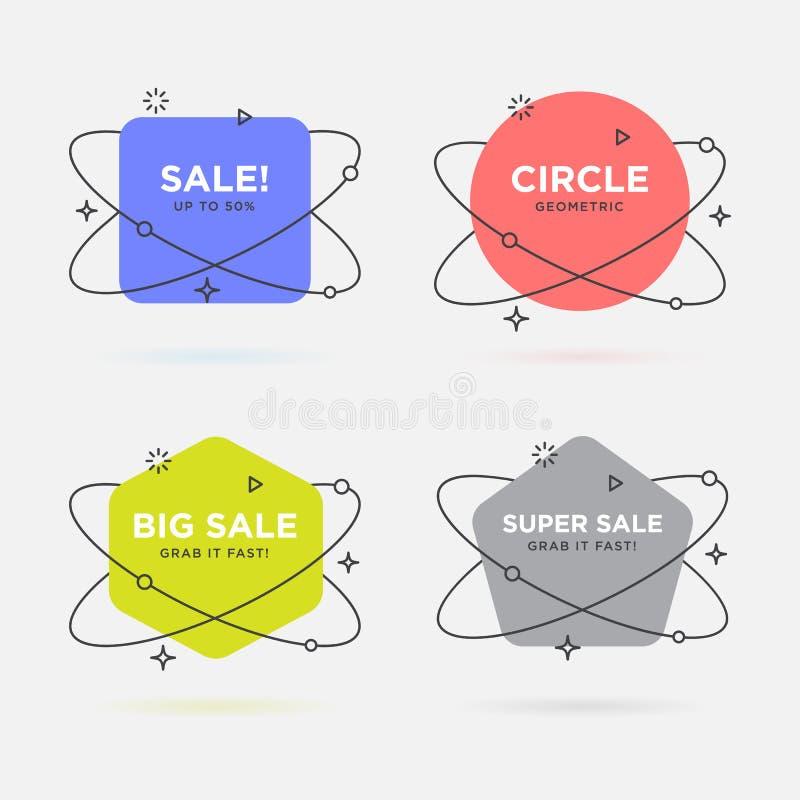 Комплект ультрамодных плоских геометрических знамен Яркие прозрачные знамена в ретро стиле дизайна плаката Винтажные цвета и форм бесплатная иллюстрация