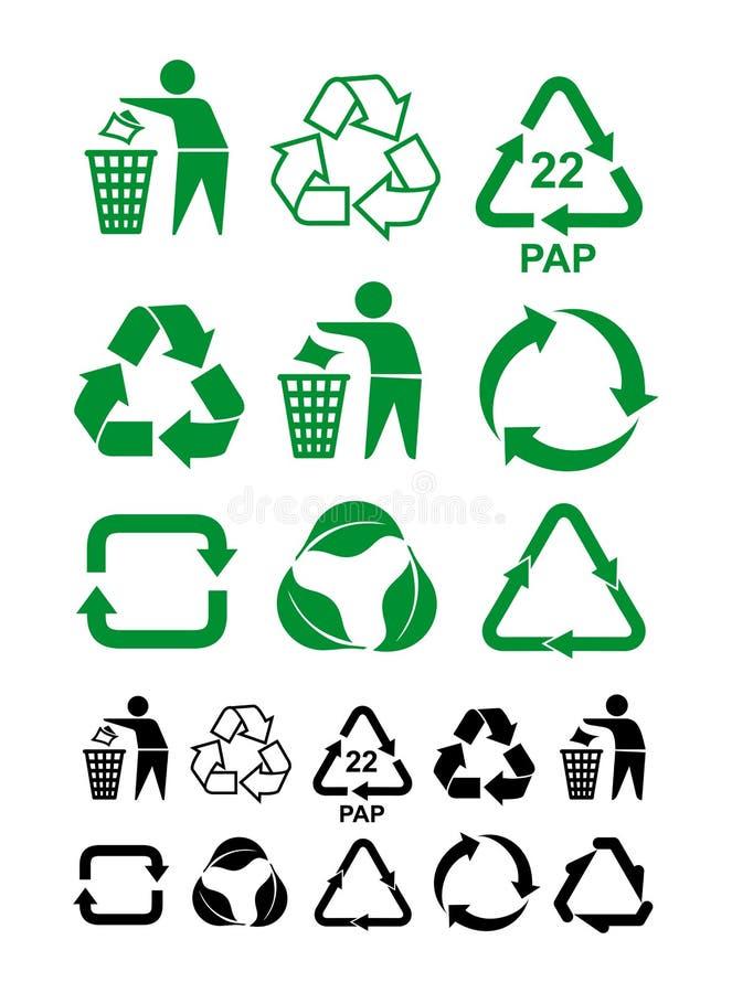 Комплект универсалии рециркулируя зеленый и черный символ Международный символ используемый на упаковке, который нужно напомнить  бесплатная иллюстрация