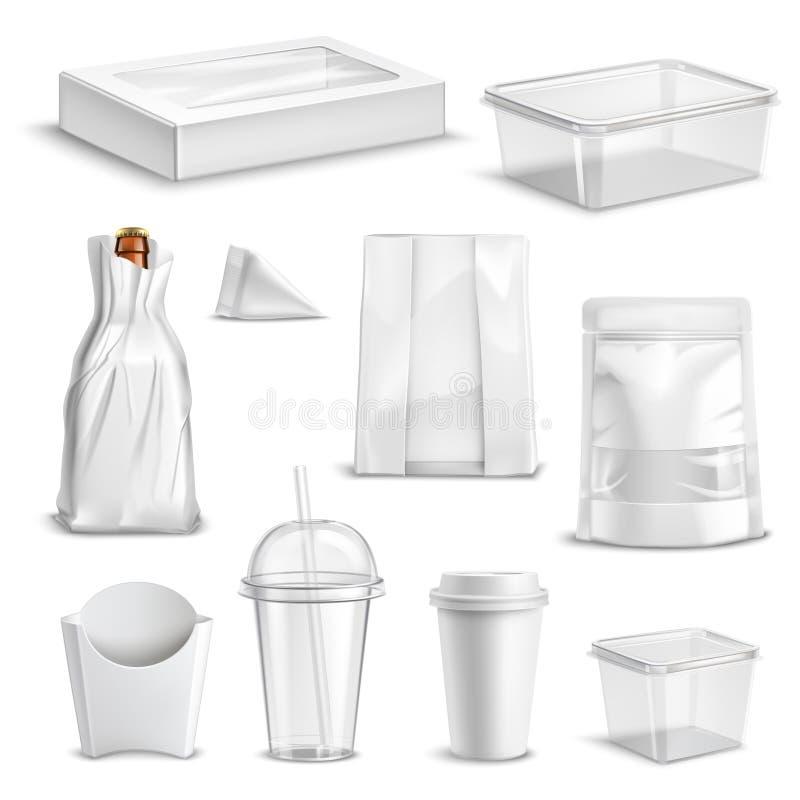 Комплект упаковки еды пустой реалистический иллюстрация штока
