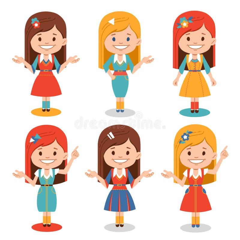 Комплект усмехаясь девушек в различных представлениях Милый характер для анимации, представления, знамен, плакатов иллюстрация штока