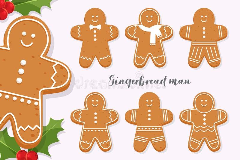 Комплект усмехаясь человека пряника Печенье праздника сладостное изолированное на светлой предпосылке Символ с Рождеством Христов иллюстрация вектора