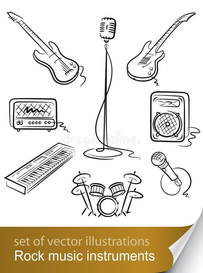 комплект утеса нот аппаратуры иллюстрация вектора