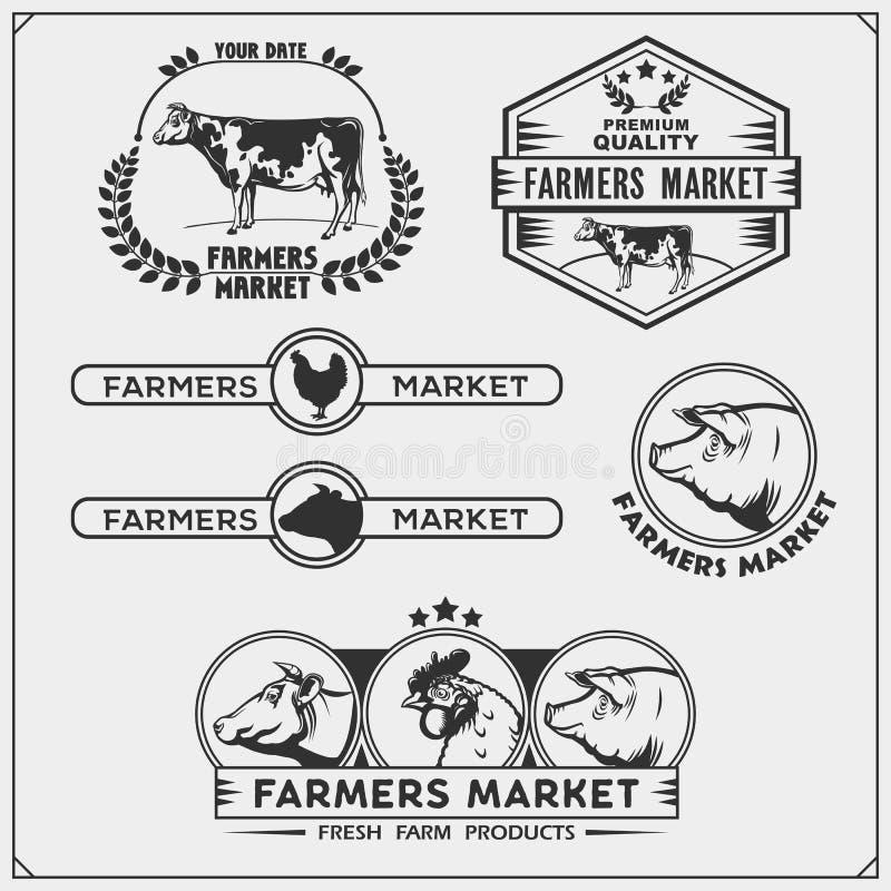 Комплект фермеров выходит эмблемы, логотипы и ярлыки вышед на рынок на рынок с животными иллюстрация штока