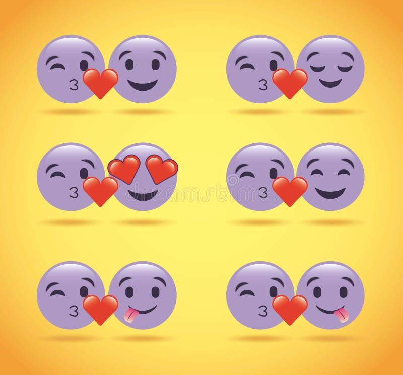 Комплект фиолетовых смайликов улыбки любит сердца милые бесплатная иллюстрация