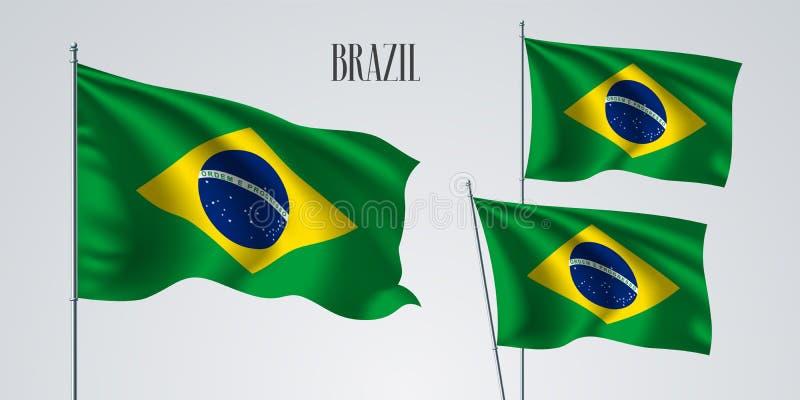 Комплект флага Бразилии развевая иллюстрации вектора бесплатная иллюстрация