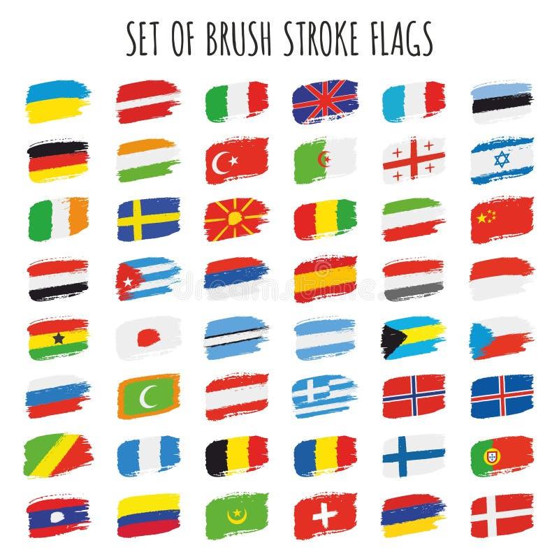 Комплект флагов brushstroke вектора бесплатная иллюстрация