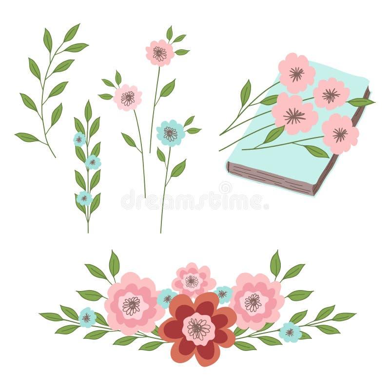 Комплект флористических орнаментов, цветков с листьями на книге Иллюстрации для дизайна иллюстрация штока