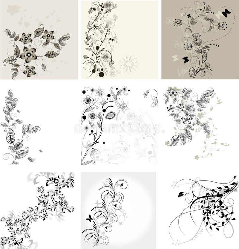 Комплект флористических предпосылок иллюстрация штока