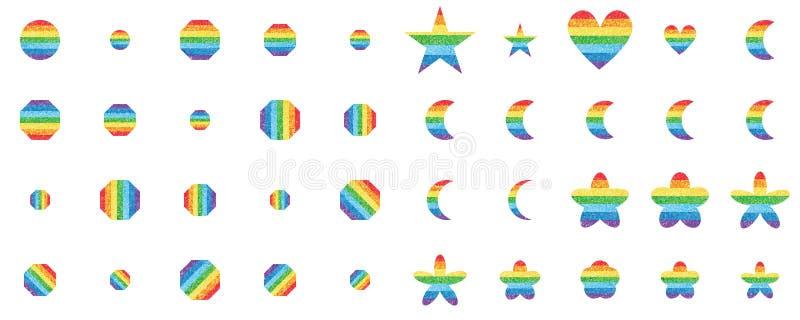 Комплект формы яркого блеска радуги иллюстрация вектора