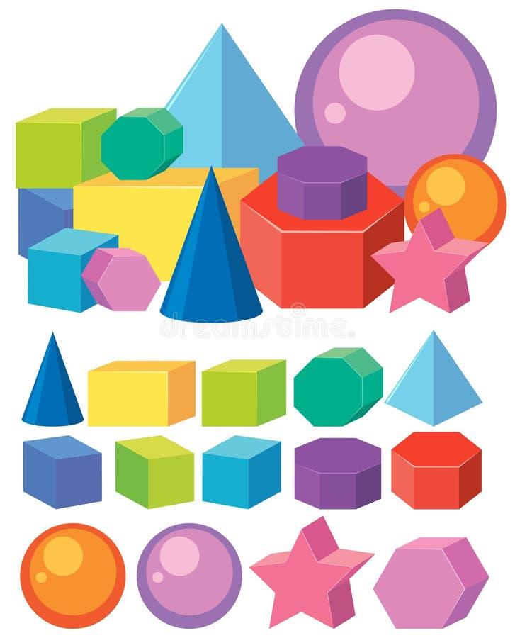 Комплект форм геометрии математики иллюстрация штока