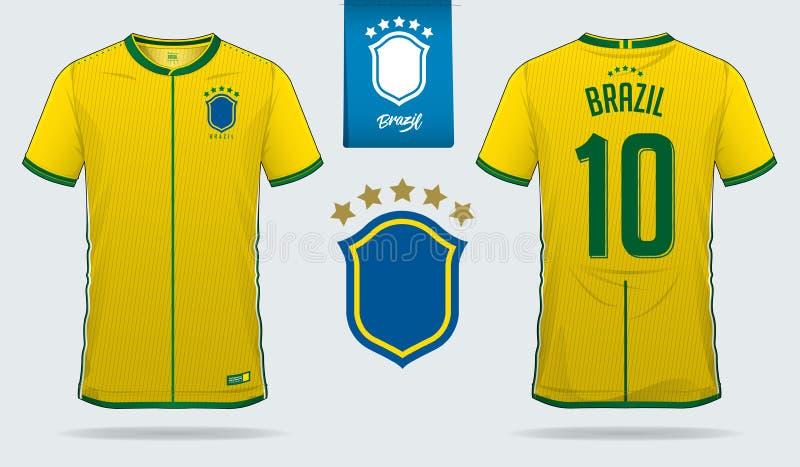 Комплект футболки или дизайн шаблона набора футбола для футбольной команды соотечественника Бразилии Передняя и задняя форма футб иллюстрация штока