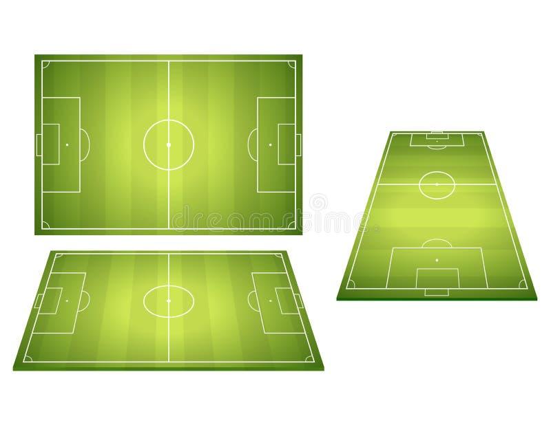 Комплект футбольных полей футбола иллюстрация вектора